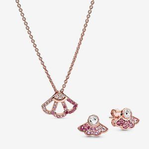 Pink Fan Collier Necklace & Earring Set